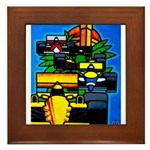 Grand Prix Auto Racing Print Framed Tile