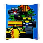 Grand Prix Auto Racing Print Woven Throw Pillow