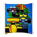 Grand Prix Auto Racing Print Woven Throw Pillow