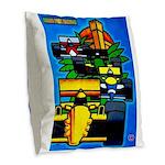 Grand Prix Auto Racing Print Burlap Throw Pillow
