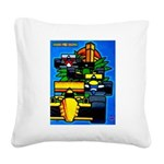 Grand Prix Auto Racing Print Square Canvas Pillow