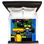 Grand Prix Auto Racing Print King Duvet