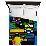 Grand Prix Auto Racing Print Queen Duvet