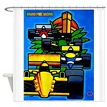 Grand Prix Auto Racing Print Shower Curtain