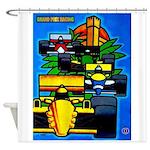 Grand Prix Auto Racing Print Shower Curtain