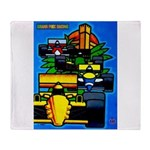 Grand Prix Auto Racing Print Throw Blanket