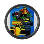 Grand Prix Auto Racing Print Large Wall Clock
