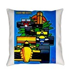 Grand Prix Auto Racing Print Everyday Pillow