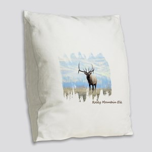 Rocky Mountain Elk Burlap Throw Pillow