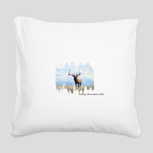 Rocky Mountain Elk Square Canvas Pillow