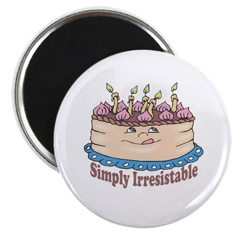 "Simply Irresistable Birthday Cake 2.25"" Magnet (10"