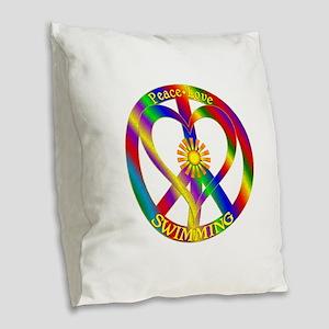 Peace Love Swimming Burlap Throw Pillow