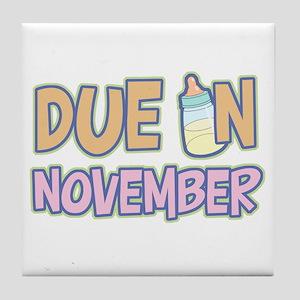 Due In November Girl Tile Coaster