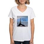 ONLY BAJA RAINBOW WHALE Women's V-Neck T-Shirt