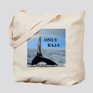 ONLY BAJA RAINBOW WHALE Tote Bag