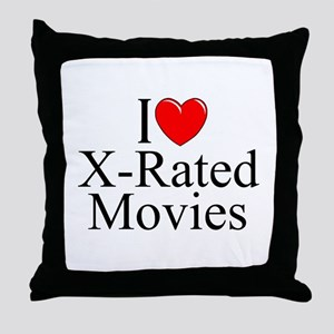 """I Love (Heart) X-Rated Movies"" Throw Pillow"