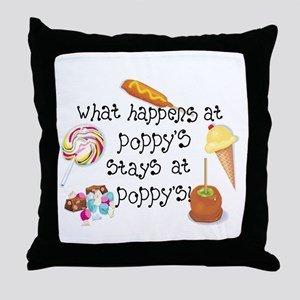 What Happens at Poppy's... Throw Pillow