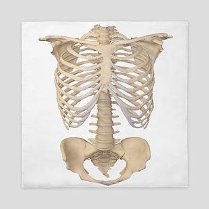 Scary halloween human skeleton Queen Duvet