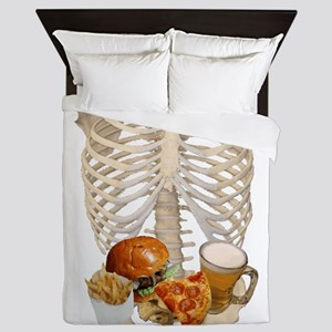 human skeleton fast food Queen Duvet