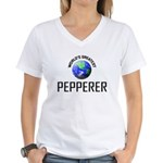 World's Greatest PEPPERER Women's V-Neck T-Shirt