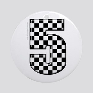 Checkered #5 Ornament (Round)