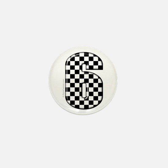 checkered number #6 Mini Button