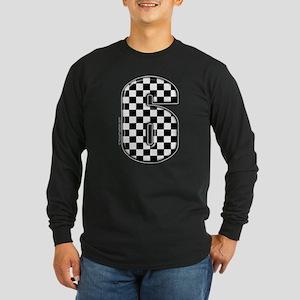 checkered number #6 Long Sleeve Dark T-Shirt