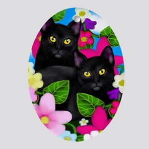 Black Cats Garden Flowers Oval Ornament