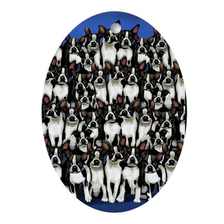 Boston Terrier Dogs Oval Ornament