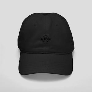 Happy 75 Years Birthday Desig Black Cap with Patch