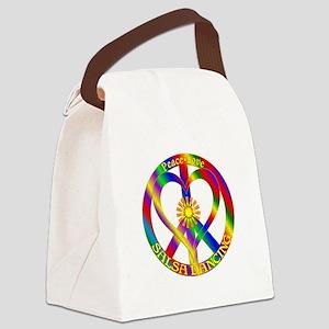 Peace Love Salsa Dancing Canvas Lunch Bag