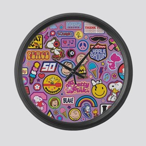 Peanuts Flair Collage Purple Large Wall Clock