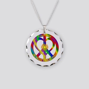 Peace Love Scrapbooking Necklace Circle Charm
