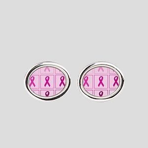 Pink Ribbon Box Oval Cufflinks