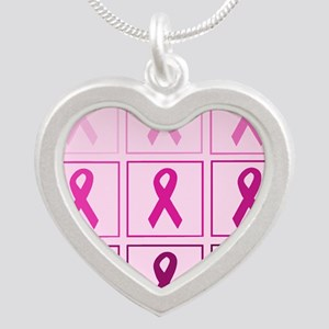 Pink Ribbon Box Silver Heart Necklace