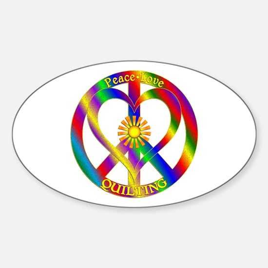 Peace Love Quilting Sticker (Oval)