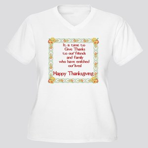 Time to Give Thanks Women's Plus Size V-Neck T-Shi