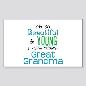 Beautiful and Young Great Grandma Sticker (Rectang