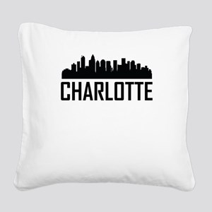 Skyline of Charlotte NC Square Canvas Pillow