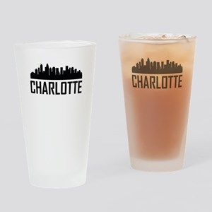 Skyline of Charlotte NC Drinking Glass