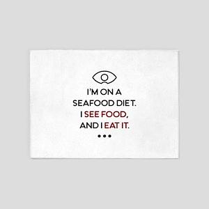 Seafood See Food Eat It Diet 5'x7'Area Rug