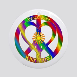 Peace Love Knitting Round Ornament