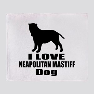 I Love Neapolitan Mastiff Dog Throw Blanket