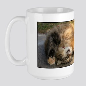 Maine Coon cat tabby rolling Large Mug