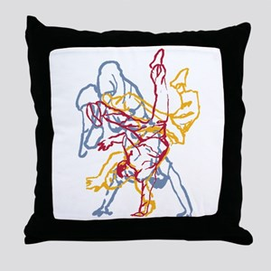 Blue, Red, Yellow Breakdance Throw Pillow
