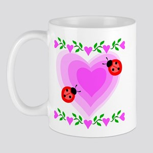 Hearts and Ladybugs Mug