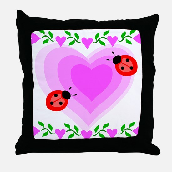 Hearts and Ladybugs Throw Pillow