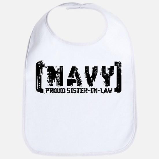 Proud NAVY SisNlaw - Tattered Style  Bib