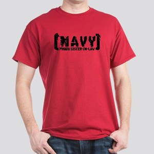 Proud NAVY SisNlaw - Tattered Style  Dark T-Shirt