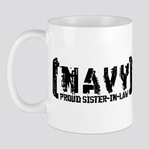 Proud NAVY SisNlaw - Tattered Style  Mug